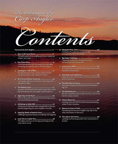 Adventures of a Carp Angler contents page